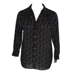 Charter Club Womens Circle Print Button Blouse New